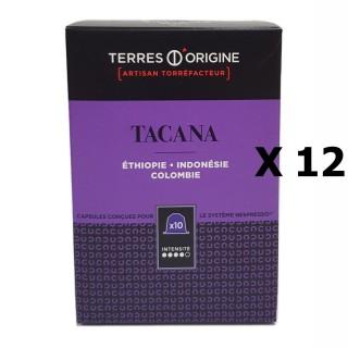 Lot 12x Capsules café Tacana intensité 4/5 - Terres d'Origine - boîte 55g soit 10 capsules conçues pour le système Nespresso