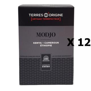 Lot 12x Capsules café Modjo intensité 5/5 - Terres d'Origine - boîte 55g soit 10 capsules conçues pour le système Nespresso