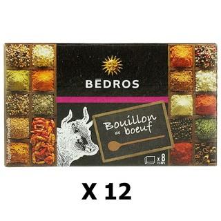 Lot 12x Bouillon de boeuf - Bedros - 8 cubes - paquet 80g