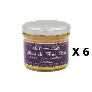 Lot 6x Délice de foie gras au vin blanc moelleux - France - Mes P'tites Recettes - pot 100g