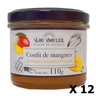 Lot 12x Confit de mangues au Piment d'Espelette AOP - Lou soleil - pot 110g