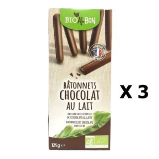 Lot 3x Biscuits batonnet chocolat lait BIO - Bioalbon - paquet 125g