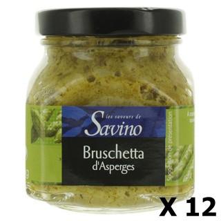 Lot 12x Bruschetta d'asperges vertes - Les Saveurs de Savino - pot 140g