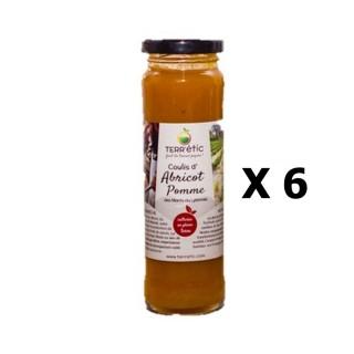 Lot 6x Coulis d'abricot et pomme - Mont du Lyonnais - Terr'étic fruit du travail paysan - bocal 156ml