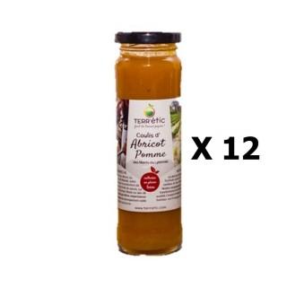 Lot 12x Coulis d'abricot et pomme - Mont du Lyonnais - Terr'étic fruit du travail paysan - bocal 156ml