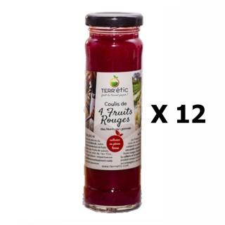 Lot 12x Coulis  4 fruits rouges - Mont du Lyonnais - Terr'étic fruit du travail paysan - bocal 156ml