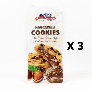 Lot 3x Cookies pépite chocolat fourrage noisette - Merba Nougatelli - paquet 200g