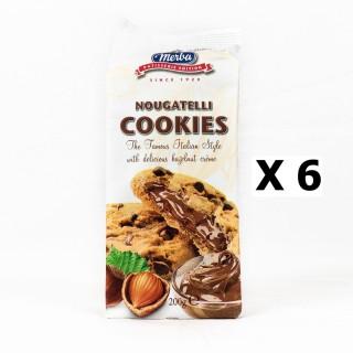 Lot 6x Cookies pépite chocolat fourrage noisette - Merba Nougatelli - paquet 200g