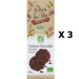Lot 3x Biscuits cookies chocolat BIO - Fleurs de Blés - paquet 200g