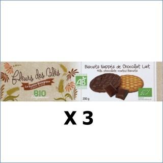 Lot 3x Biscuits nappés chocolat lait BIO - Fleurs de Blés - paquet 200g