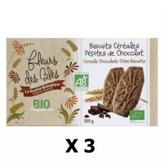 Lot 3x Biscuits BIO petit déjeuner céréales & pépites chocolat - Fleurs des Blés - paquet 205g