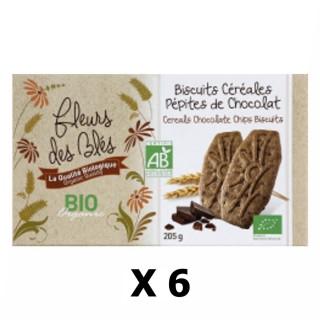 Lot 6x Biscuits BIO petit déjeuner céréales & pépites chocolat - Fleurs des Blés - paquet 205g