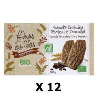 Lot 12x Biscuits BIO petit déjeuner céréales & pépites chocolat - Fleurs des Blés - paquet 205g
