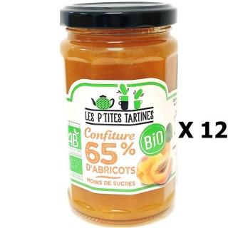 Lot 12x Confiture abricot  65% Bio - Les P'tites Tartines - pot 255g