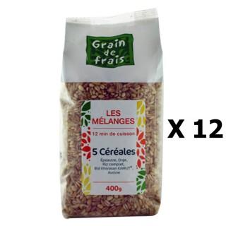 Lot 12x Mélange 5 céréales - Grain de Frais - paquet 400g