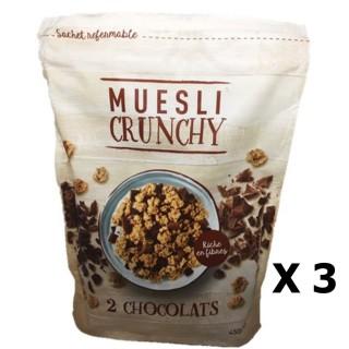 Lot 3x Muesli croustillant aux 2 chocolats - paquet 450g