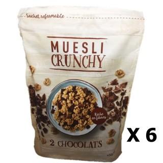 Lot 6x Muesli croustillant aux 2 chocolats - paquet 450g