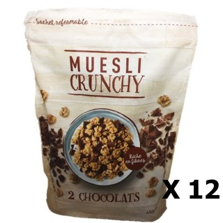 Lot 12x Muesli croustillant aux 2 chocolats - paquet 450g