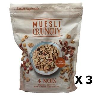 Lot 3x Muesli croustillant 4 noix - paquet 450g