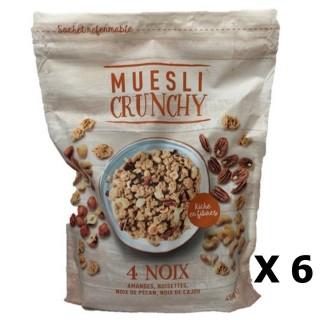 Lot 6x Muesli croustillant 4 noix - paquet 450g