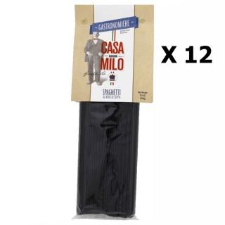 Lot 12x Spaghetti Nero 242 - Italie - Casa Milo - paquet 500g
