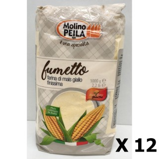Lot 12x Farine de maïs très fine SANS GLUTEN - Italie - Molino Peila - paquet 1kg