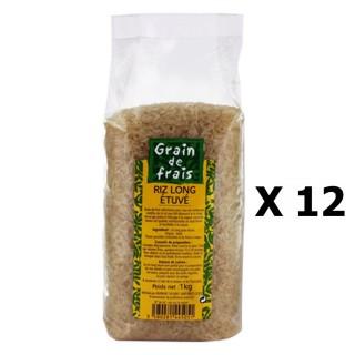 Lot 12x Riz long étuvé - Grain de Frais - paquet 1kg