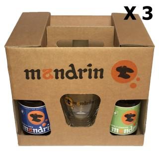 Lot 3x Coffret cadeau 4x33cl Bières artisanales Mandrin + 2 verres Mandrin 25cl - Brasserie du Dauphiné