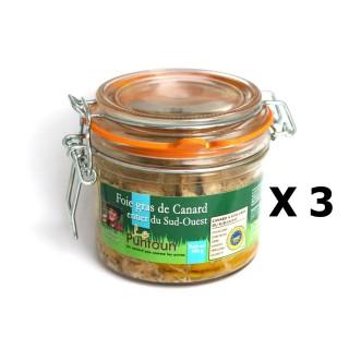Lot 3x Foie gras de canard entier du Sud Ouest IGP - La Ferme du Puntoun - bocal : 300g