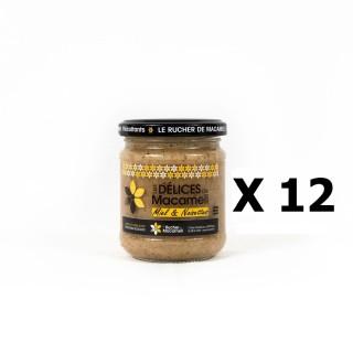 Lot 12x Pâte à tartiner Délice (miel et noisettes) - Monts du Lyonnais - Rhône Alpes - Le Rucher de Macameli - pot 225g