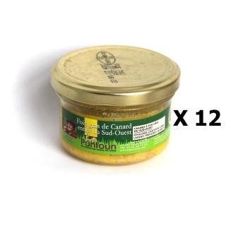 Lot 12x Foie gras de canard entier du Sud Ouest IGP - La Ferme du Puntoun - bocal : 70g