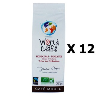Lot 12x Café moulu BIO Honduras / Tanzanie - World Café Jacques Chapuis - paquet 250g