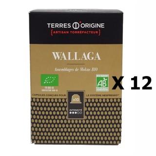 Lot 12x Capsules café Wallaga BIO intensité 3/5 Terres d'Origine Boîte 55g soit 10 capsules conçues pour le système Nespresso