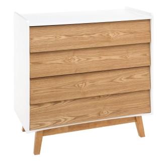Commode scandinave en bois Elva - L. 80 x H. 85 cm - Blanc