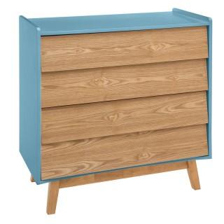 Commode scandinave en bois Elva - L. 80 x H. 85 cm - Bleu