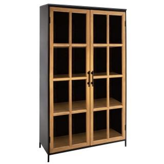 Bibliothèque vitrée design en métal Baris - L. 102 x H. 101 cm - Noir