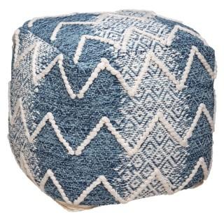 Pouf ethnique jeans Terre - L. 45 x H. 45 cm - Bleu