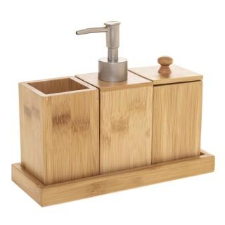 Coffret accessoires de lavabo en bambou - 4 Pièces