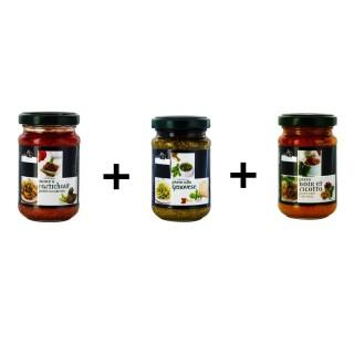 Lot x3 pots Pesto artichaut + Noix et ricotta + Basilic - Antico Casale
