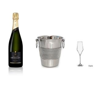 Lot Seau à Champagne acier et strass, 6 flûtes à Champagne et Champagne Gremillet bouteille 75cl - 3 produits
