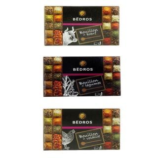Lot 3x8 cubes bouillon : bœuf, volaille et légumes - Bedros