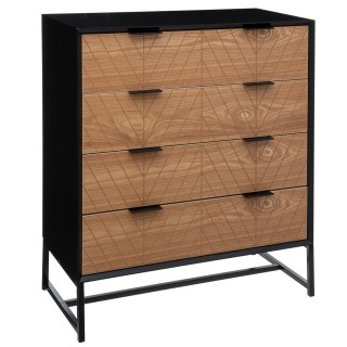 Commode design contempo bois Oria - L. 80 x H. 96 cm - Noir