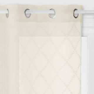 Voilage design jacquard Eté Indien - 140 x 240 cm - Couleur lin