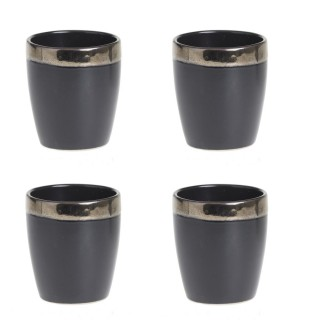 4 Tasses à expresso design Jungle Africa - 110 ml - Noir