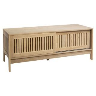Meuble TV en bois design lattes Osani - L. 120 x H. 45 cm - Marron
