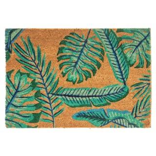 Paillasson design feuilles Tropic - L. 40 x l. 60 cm - Marron