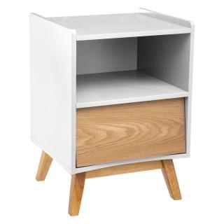 Table de chevet en bois scandinave Elva - L. 43 x H. 62 cm - Blanc