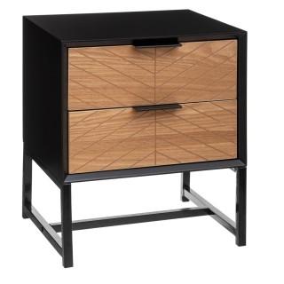 Table de chevet design contempo bois Oria - L. 40 x H. 48 cm - Noir