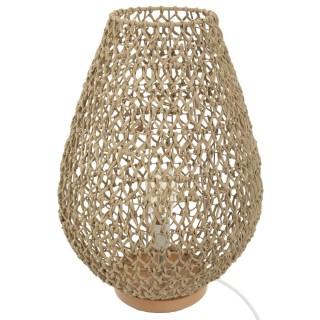 Lampe à poser tressée en bois Eté Indien - H. 55 cm - Beige