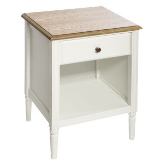 Table de chevet effet bois Solen - L. 45 x H. 60 cm - Blanc